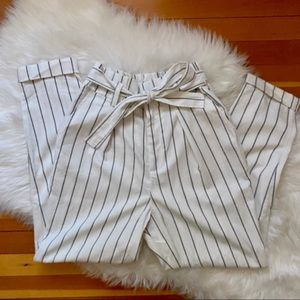 Forever 21 Cuffed Striped Paperbag Pants